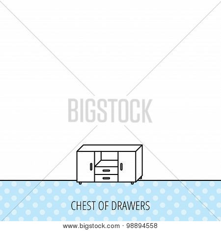 Chest of drawers icon. Interior commode sign. Circles seamless pattern. Background with icon. Vector poster