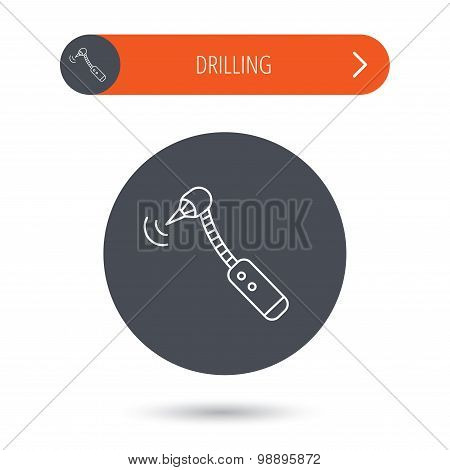 Drilling tool icon. Dental oral bur sign. Gray flat circle button. Orange button with arrow. Vector poster