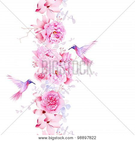 Gentle Camellia, Peonies And Magnolia Flowers