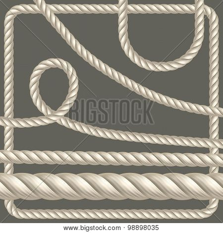 Twisted rope of different shapes. Vector set poster