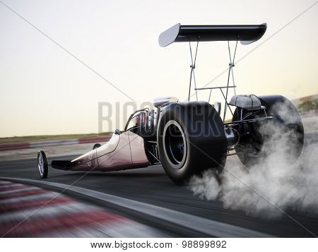 Dragster racing down the track with burnout.