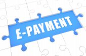 E-Payment - puzzle 3d render illustration with word on blue background poster