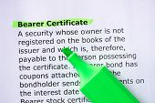 Bearer Certificate words highlighted on the white background poster