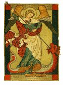 A stunning illustration of the archangel Saint Michael from Jewish Christian and Islamic tradition trampling Satan Lucifer the Devil. It is in an antique illuminated manuscript style. The angel stands on Satan in the form of a dragon holding a spear aloft poster