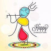 illustration of Lord Krishna background for Janmashtami. poster