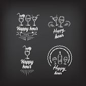 Happy hour party invitation. Cocktail chalkboard banner.Vector with elements. poster