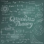 Quantum theory law and physics mathematical formula equation doodle handwriting icon in blackboard background with hand drawn model poster