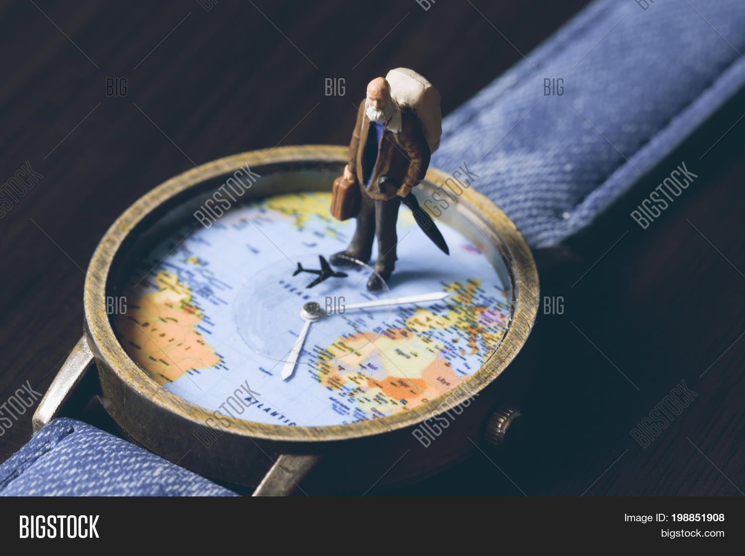 Old man on watches world map image photo bigstock old man on watches with world map vintage toned photo world travel banner senior sciox Image collections