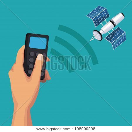 color background of hand holding a remote control with satellite search signal vector illustration