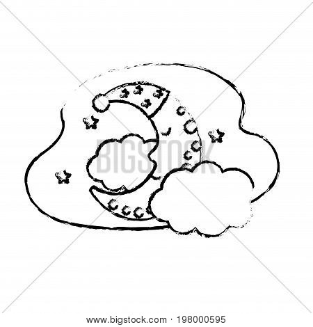 figure cute moon with sleep hat design and clouds with stars vector illustration
