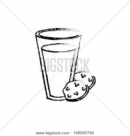 figure delicious milk with chocolate cookies vector illustration