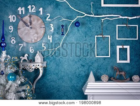 Festive Christmas prop decoration on the wall clock