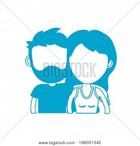 silhouette couple lover together with hairstyle design vector illustration