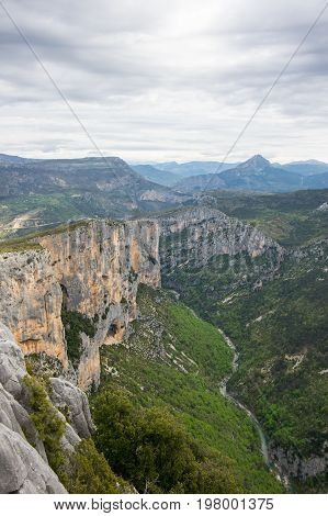 View on the cliffs of the Gorge du Verdon in Provence France