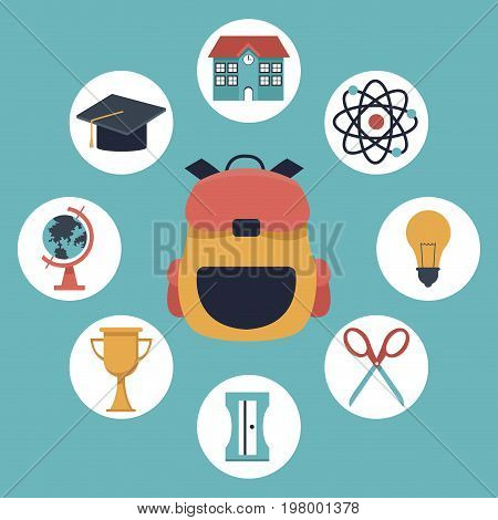 color background with closeup briefcase school and elements academic in icons vector illustration