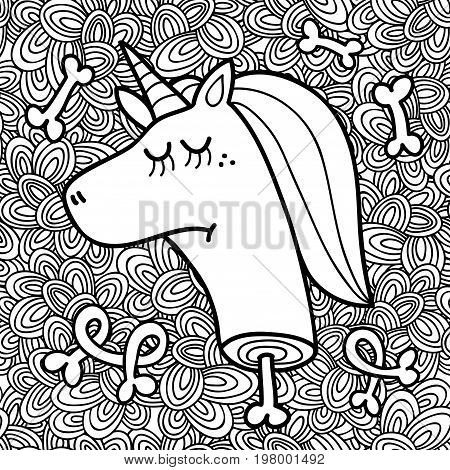 Dead unicorn head on the abstract background. Vector illustration for coloring.