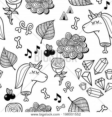 Seamless pattern with dead unicorn for coloring. Funny black and white design in vector.