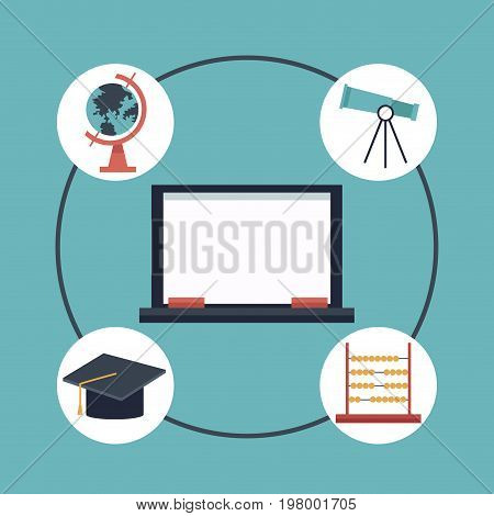 color background with center of chalk board an elements academic icons around vector illustration