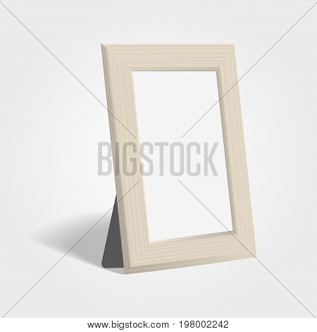 Realistic Woden Picture Or Photo Frame Mock Up Standing On Light Background.