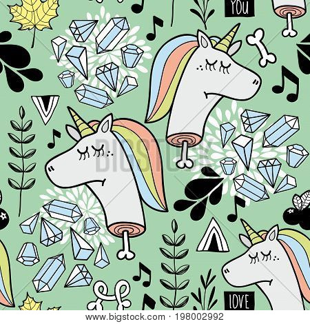 Endless background with dead unicorn. Vector seamless pattern for kids and adults.