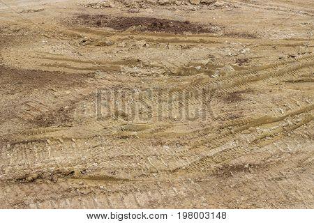 Truck Tyre Pattern On The Soil 2