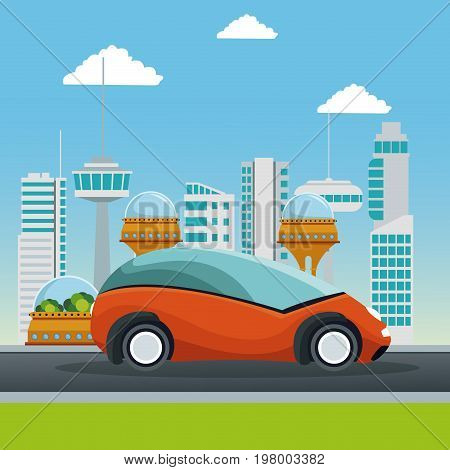 colorful scene futuristic city metropolis with small orange car vehicle vector illustration