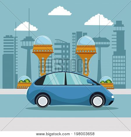 colorful scene futuristic city metropolis with small blue car vehicle vector illustration