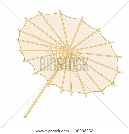 Traditional japanese or chinese umbrella over a white backgrround