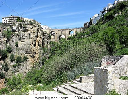 Arched bridge across a ravine at Ronda, Andalucia, Spain