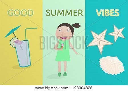Summertime. Good vibes with drink, girl holding ice cream, shell and sea star in pear-lemon colors.