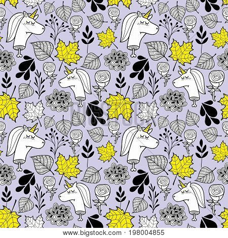 Seamless background with autumn leaves and heads of dead unicorns. Vector endless pattern.