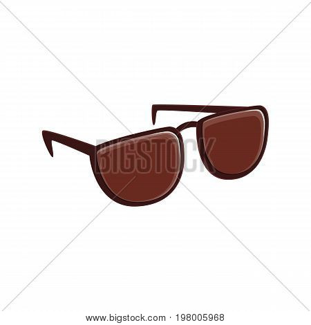 Simple brown sunglasses, cartoon vector illustration isolated on white background. Cartoon, comic style, simple brown colored sunglasses