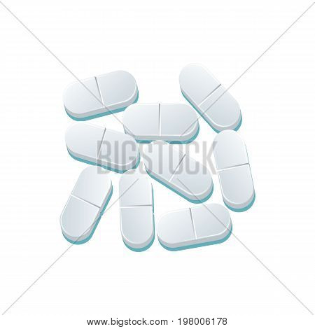 Vector grey capsules flat cartoon illustration isolated on a white background. Cold and flu treatment concept, medicine and drugs. Cartoon illness therapy tools