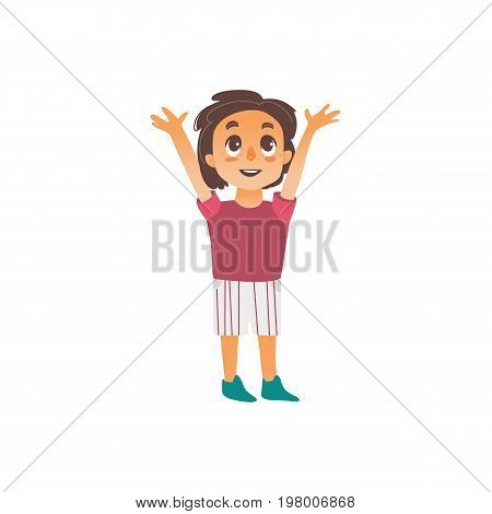 Vector flat cartoon boy pulls his hands up to the sun isolated illustration on a white background. Smiley child, kid icon image.