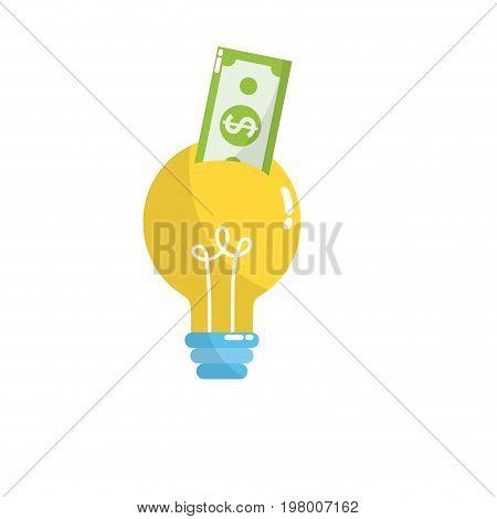 bulb idea with bill cash money vector illustration