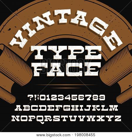 Vintage typeface. Retro distressed alphabet vector font. Slab serif letters and numbers. Vintage vector font for labels, headlines, posters etc.