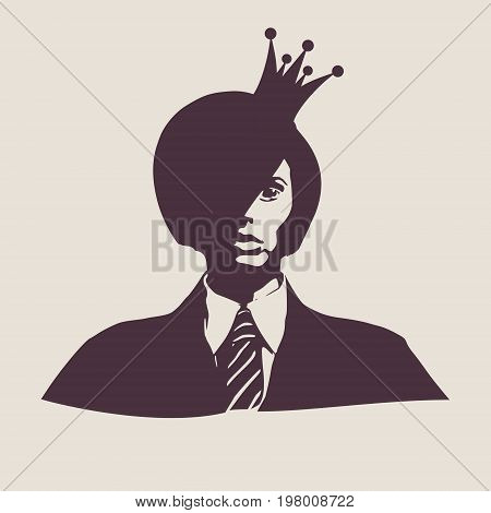 Face front view. Elegant silhouette of a female head. Vector Illustration. Short hair. Monochrome gamma. Business woman. Medieval queen crown