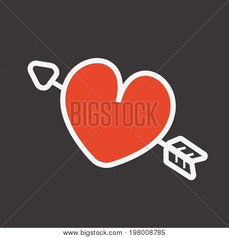 Heart with arrow. Love card. Heart icon. Vector stock.