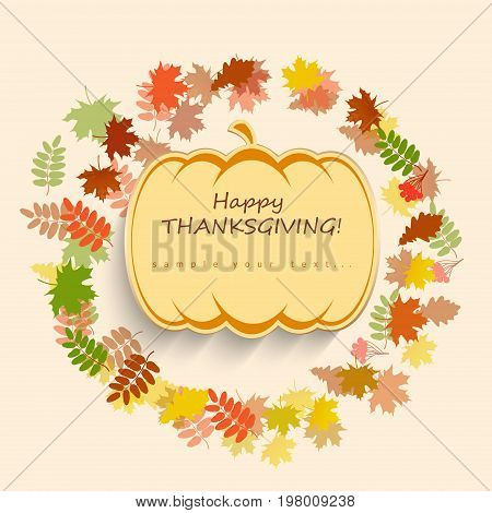 Happy Thanksgiving Card with pumpkin on autumn background