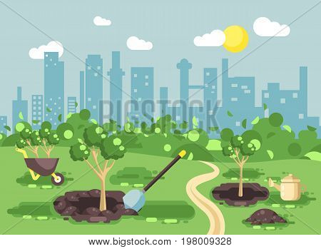 Stock vector illustration landscape, scenery, view, scene, planting garden seedlings of tree watering from geek, wheelbarrow, shovel, excavated pits in ground, taking care of ecology city flat style