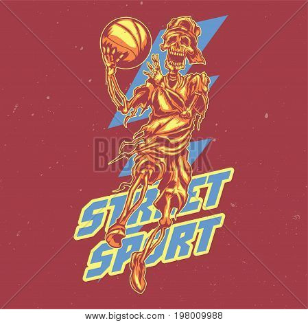 T-shirt or poster design with illustration of skeleton streetball player