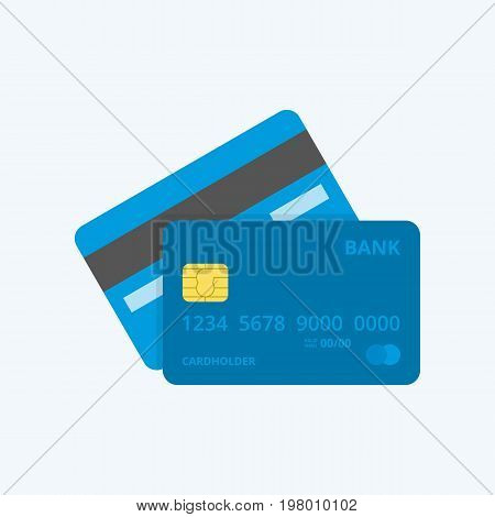 Credit Card, isolated icon. Front and Back views.
