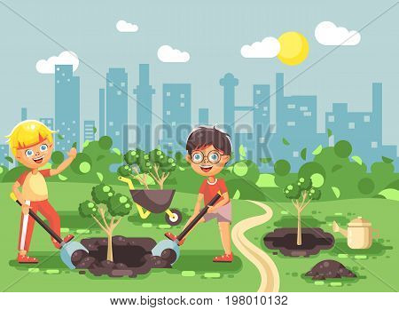 Stock vector illustration cartoon characters of children two little boys dig hole in ground for planting in garden seedlings of tree watering from geek, taking care of ecology city flat style