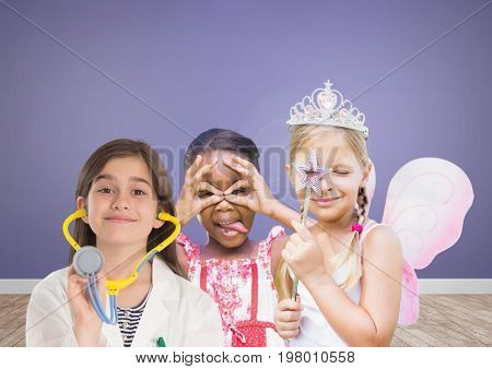 Digital composite of 3 girls with blank room purple background