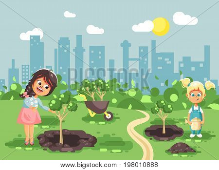 Stock vector illustration cartoon characters of children two little girls near dug holes in ground for planting in garden seedlings of tree watering from geek, taking care of ecology city flat style