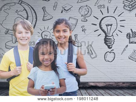 Digital composite of Kids in front of blank wall with education graphics