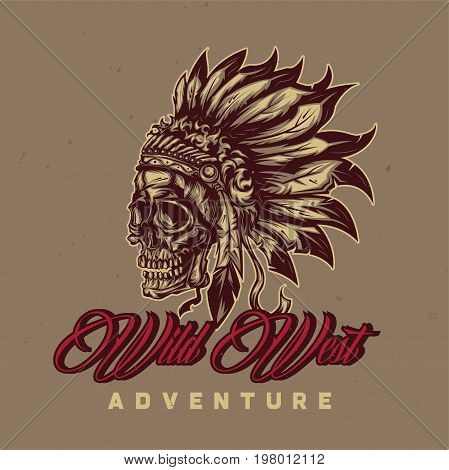 T-shirt or poster design with illustration of American Indian Chief Skull With
