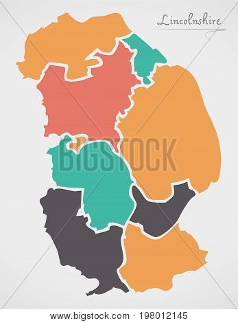 Lincolnshire England Map With States And Modern Round Shapes