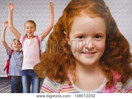 Digital composite of Red haired girl and Kids in room
