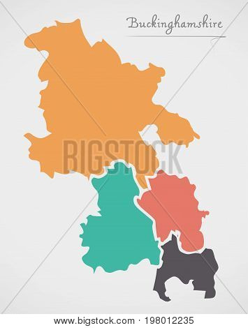Buckinghamshire England Map With States And Modern Round Shapes